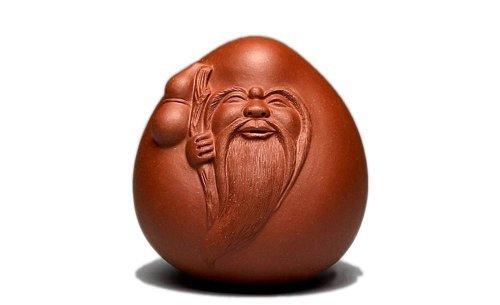 Chinese Yixing Zisha Decoration Red Clay Shou Xing God of Longevity Tea Pet
