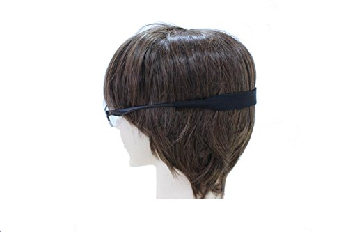 Eyeglasses and Sunglasses Black Head Band Strap - Active Small Size - Soft Flexible Anti-Slip Material Floats in Water [2 - Eyeglasses Material