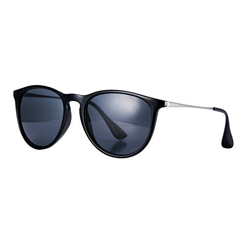 YANQIUYU 4171 Women's Erika cat eye round Polarized Sunglasses,UV400 (Grey /Bright Black Frame, - Erika Round Sunglasses