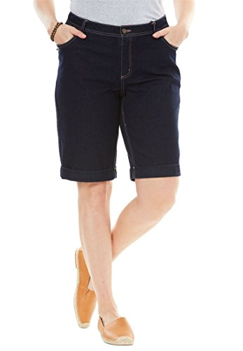 Woman Within Plus Size Stretch Jean Bermuda Short - Indigo, 18 W