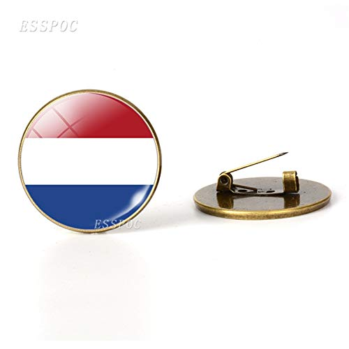 - Western Europe: United Kingdom Belgium France Netherlands Flag Brooches Glass Dome Jewelry Bronze Brooch Pins National Day Gifts