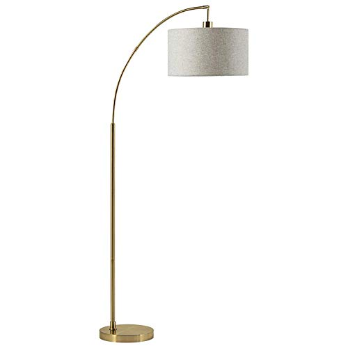 Rivet Modern Arc Floor Lamp with Bulb and Fabric Shade, 69