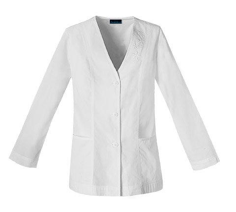 Cherokee 1403 Women's Fashion Whites Embroidered Cardigan Lab Coat White XX-Large (Lab Cardigan)
