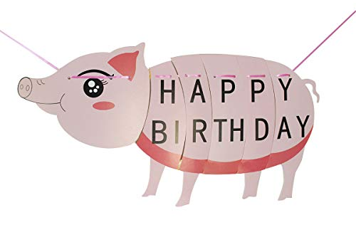 Pig Happy Birthday Bunting Banner Cartoon Farm animal Themed Flag for Kids Toddler Birthday Party Decorations - Large Size -