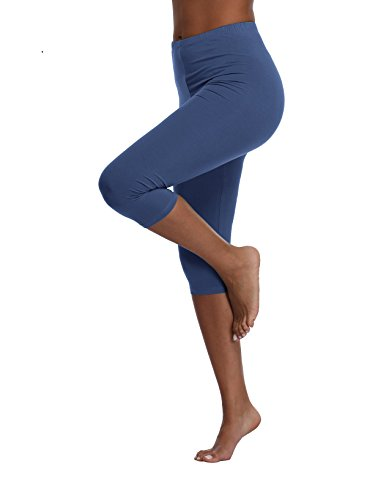 3/4 Yoga Pant - Kotii Women's Lightweight Soft Capri Leggings Crop Leggings 3/4 Stretch Yoga Pants, Grey Blue, Small / Medium