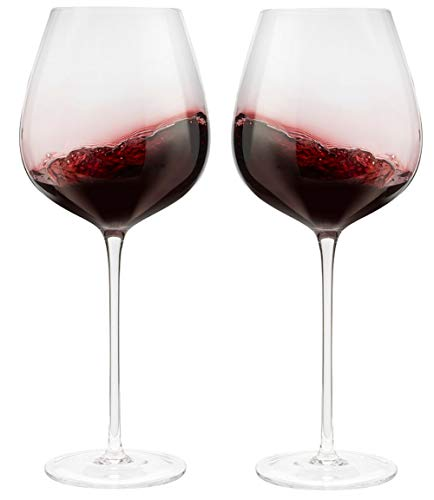 Red Wine Glasses – Large 27 oz Hand Blown Bowl. Lead Free Crystal Glasses. Set of 2 in Luxury Gift Box. For Christmas to Birthdays and Anniversaries or Sunday Brunch, Dinner Party, Girls Night