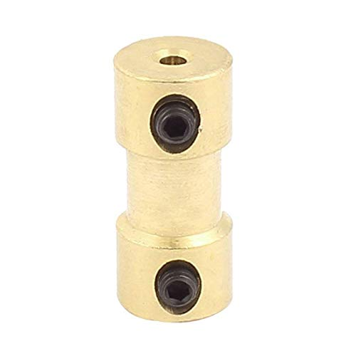 (Gimax 2mm to 2mm Gold Tone Copper DIY Motor Shaft Coupling Joint Connector for Electric Car Toy robot 20mm x 9m with L wrench)