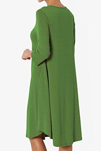 Loose Pocket 3 Basic 4 Dress T Shirt 4 3 TheMogan Kiwi Jersey Knit Sleeve Trapeze cTaqH4Rwy