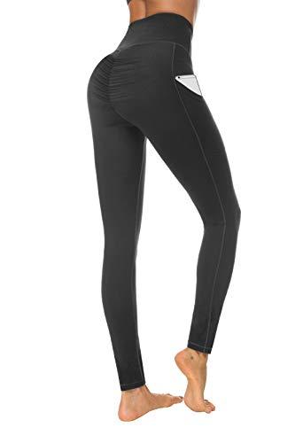 (Fengbay Scrunch Butt Leggings with Pockets, High Waist Yoga Pants Booty Ruched Tummy Control Stretch Yoga Leggings (Medium, N629 Black))