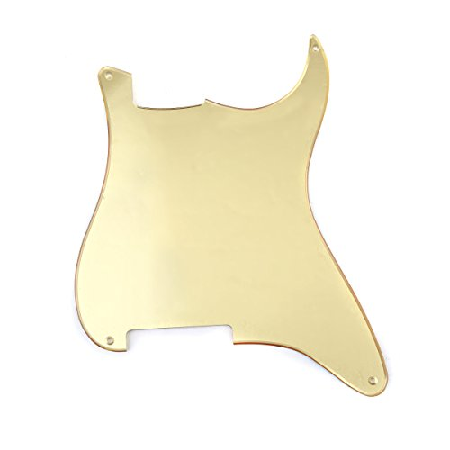 Musiclily 4 Holes Blank Custom Outline Pickguard Plate for Fender Stratocaster Strat ST Style Guitar, 1Ply Gold Mirror