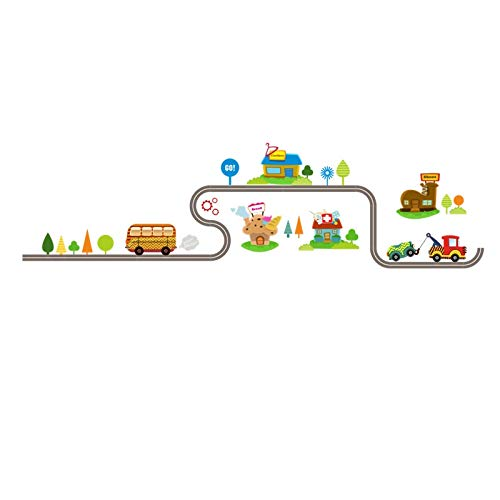 SeedWorld Wall Stickers - Cartoon Car Bus Highway Track Wall Stickers for Kids Rooms Children's Bedroom Living Room Decor Wall Art Decals Boy's Gift 1 ()