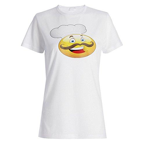 Smileykopfchefgesichtsneuheit lustige Weinlesekunst Damen T-shirt a247f