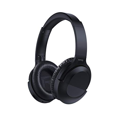 SANAG Noise Cancelling Headphones Wireless Bluetooth Over The Ear Headphones with Mic,Industry Leading Controllable Noise Cancellation, 30H Playtime for Travel Work TV PC Cellphone- Black
