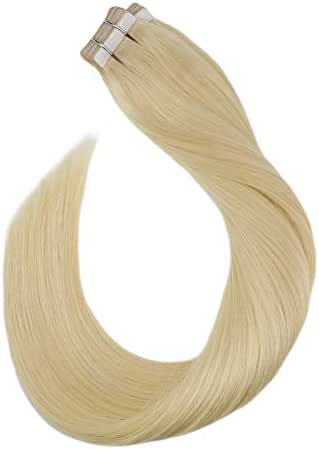Ugeat 18 Inches Remy Tape in Human Hair Extensions #613 Bleach Blonde Tape Real Human Hair Extensions 20PCS/50g PU Tape Invisible Hair Extensions Human Hair