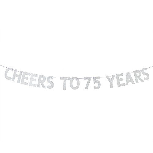 WeBenison Cheers to 75 Years Banner - Happy 75th Birthday Party Bunting Sign - 75th Wedding Anniversary Decorations Supplies - Silver