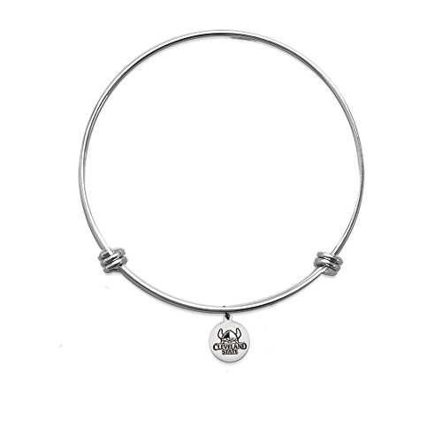 PETITE Cleveland State Vikings Bangle Bracelet With 10mm Charm - Stainless Steel (One Crystal) (One Crystal) (No Crystals) (One Crystal) (No Crystals) (No Crystals) (One Crystal) (No - Bracelets Steel Stainless Cleveland