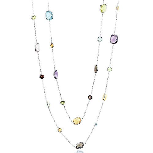 (14K White Gold Station Necklace With Cushion Cut And Round Gemstones 36 Inch)