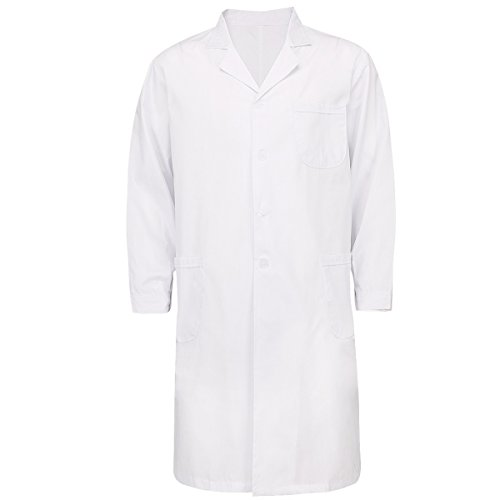 YiZYiF Mens Womens Long Sleeve Lab Coats Medical Doctor Nurse White Long Jacket Mens (Doctor Outfits For Adults)