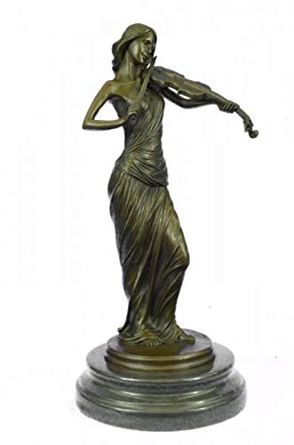 Collectible Brown Color Patina Bronze Sculpture Violin Player Viola Musician Marble Figurine