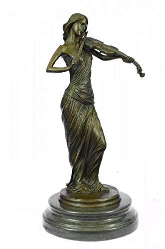 Collectible Brown Color Patina Bronze Sculpture Violin Player Viola Musician Marble Figurine ()