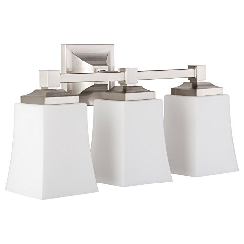 Brighton 3 Light Bathroom Vanity Brushed Nickel w/ Frosted Glass Linea di Liara LL-WL240-3-BN ()