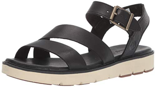 (Timberland Women's Bailey Park Summer Platform Sandals Flat, Black Full Grain, 8 Medium US)
