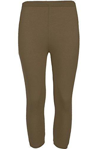 Oops Outlet Femmes 3/4 Longueur Uni Leggings Femmes Basique Viscose Élastique Pantalons Courts - Kaki, M/L EU 40/42