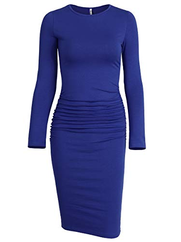Missufe Women's Ruched Casual Sundress Midi Bodycon Sheath Dress (Small, Long Sleeve Blue)