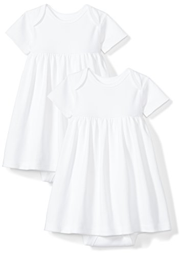 Baby Onesie Dress (Moon and Back Baby Girls Set of 2 Organic Short-Sleeve Dresses, White Cloud, 3-6 Months)