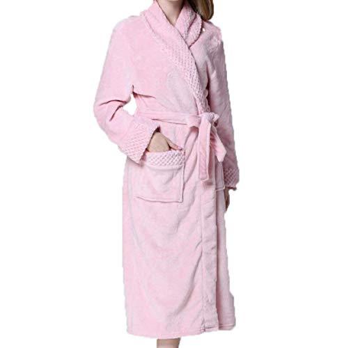 Mode Para Código Dama Franela Pink Espesar Largo Punto Mujer Marca De Invierno Albornoz Cálido Bata Servicio Pijamas Pd58wxPB