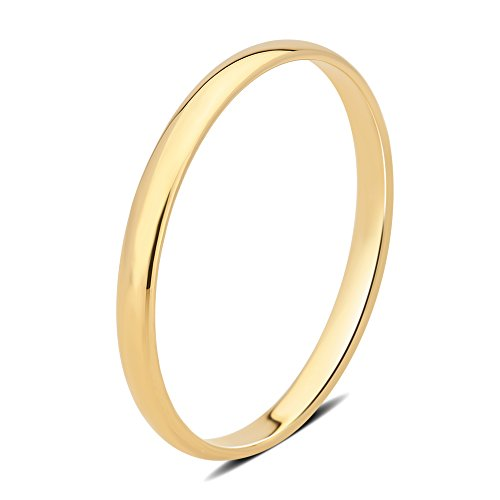 DiamondMuse 2 mm Plain Wedding Band in 10K Yellow Gold (9) by DiamondMuse (Image #4)