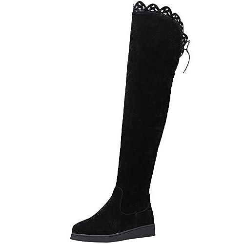 676fe20ee Caliente de la venta Botas altas largas Mujer Otoño Invierno Caliente Ante  sintética Negro Encaje Planas