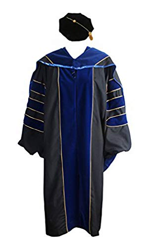 GraduationService Deluxe Doctoral Graduation Gown,Phd Hood and 8-Side Tam -