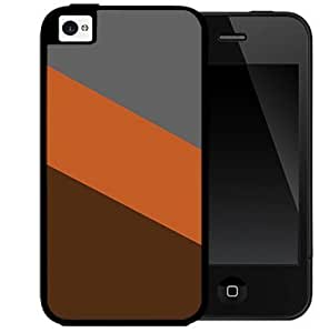 Autumn Color Block Orange Brown and Gray 2-Piece Dual Layer High Impact Black Silicone Cell Phone Case Cover iPhone 4 4s