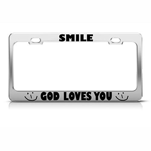 Speedy Pros Smile God Loves You Jesus Christ Religious Metal License Plate Frame Tag Holder]()