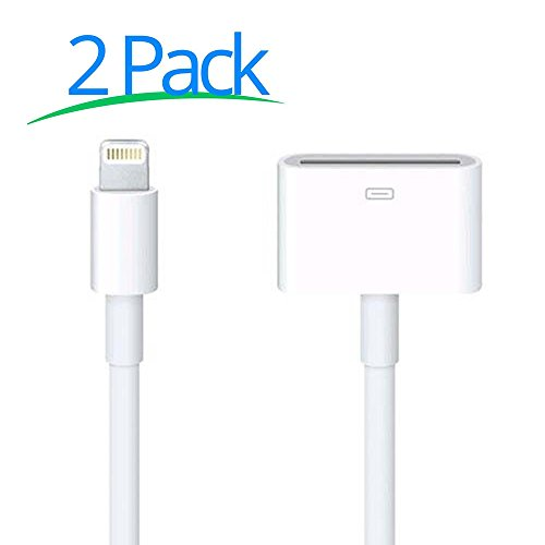 30 Pin to 8 Pin, 8-Pin Male to 30-Pin Female Converter Adapter for iPhone 7, 7 Plus, 6S, 6S Plug, 5S, 5C, iPad (2 pcs 8Pin to 30 Pin Adapter White) - Apple 8 Pin To 30 Pin Adapter