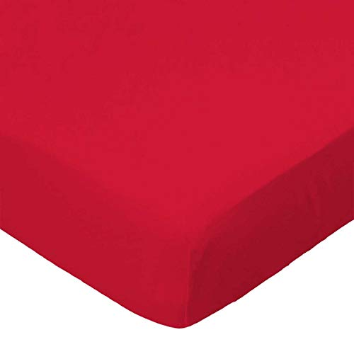 SheetWorld 100% Cotton Jersey, Fitted Youth Bed Sheet 33 x 66, Solid Red, Made in USA