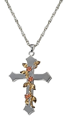 Cremation Memorial Jewelry: 14K Solid White Gold Rose Vine Cross