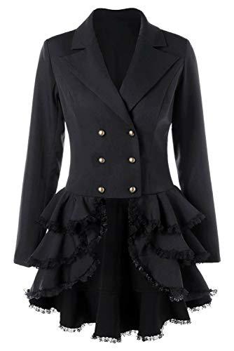 (SUPERCOS Women's Ruffled Suit Tailcoat Lace Up Coat Tuxedo Gothic Jacket Wedding Uniform (XXL,)