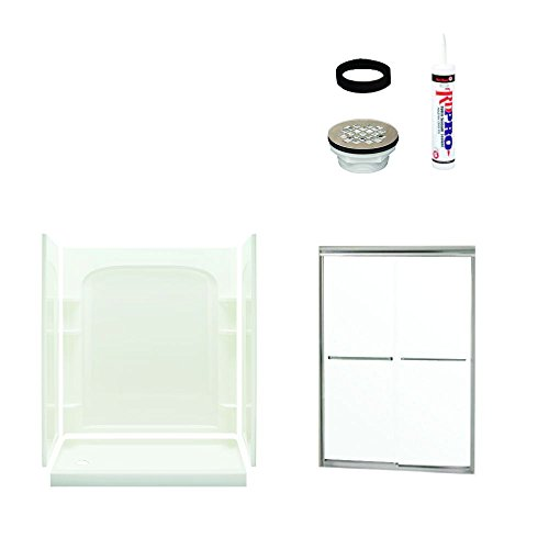 Sterling Plumbing 7217L-5475NC Ensemble Shower Package Curved 60-Inch x 30-Inch x 73-3/4-Inch with Clear Glass Door Left Drain, White/Satin - Nickel 60 Inch Ensemble Brushed