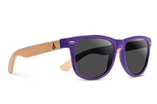 TREEHUT Wooden Bamboo Sunglasses Temples Classic Bali Retro Square Wood Sunglasses (Purple Frame w/Treehut Pouch, grey) (Hut Sunglass Sunglasses)