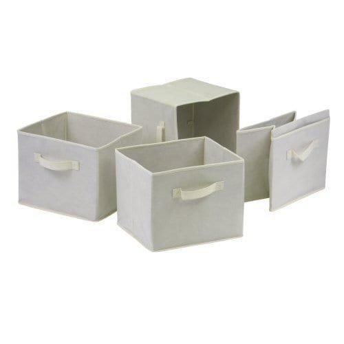 UPC 789326563351, Luxury Home Capri Beige Fabric Foldable Baskets (Pack of 4)
