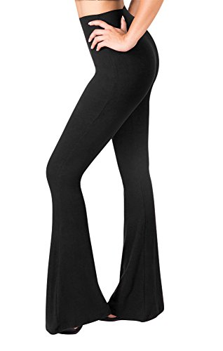 SATINA High Waisted Flare Palazzo Wide Leg Pants | Printed & Solid | Reg & Plus (X-Large, 1 Black)