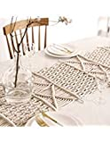 """Hiplus Boho Handmade Natural Macrame Table Runner, Macrame Table Placement, Wedding Table Centerpiece, Bed Runner Home Decor (13.7"""" W x 84"""" L)"""