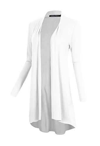 Urban CoCo Women's Open Front Long Sleeve Long Basic Cardigan (XL, White) - White Jacket Dress