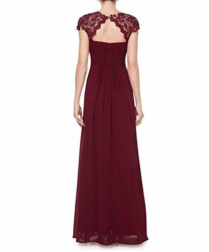 Abendkleid Gerüscht Schönheit Burgunderrot Rücken Brustumfang offener Damen der Rot Leader 6Uv0p