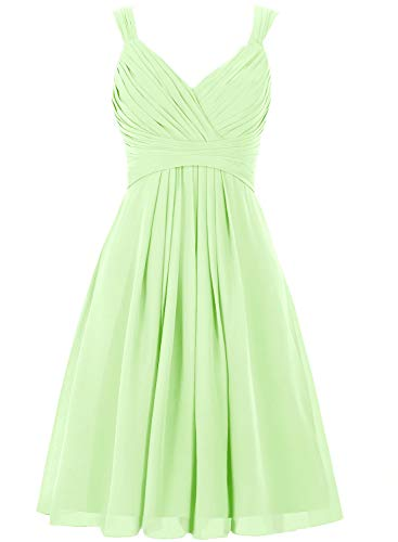 Bridesmaid Dress Short Prom Dress Chiffon Simple Party Dress for Junior Sage XL Bill Levkoff Junior Bridesmaid Dresses