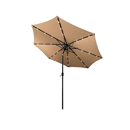 ALEKO UMB10L24TN Solar Powered LED Lighted Outdoor Patio Table Umbrella Waterproof Polyester with Tilt Adjustment 8 x 10 Feet Tan Review