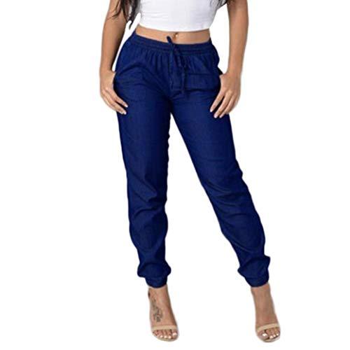 JOFOW Women's Leggings,Flares Trousers Solid Loose Elastic Belt Tie Strappy Mid Waist Cowboy Denim Pencil Pant for Women (2XL,Dark Blue)