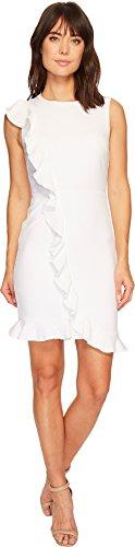 Nicole Miller Women's Ruffle Front Dress White 6